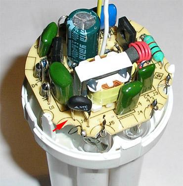 Лампа с установленным